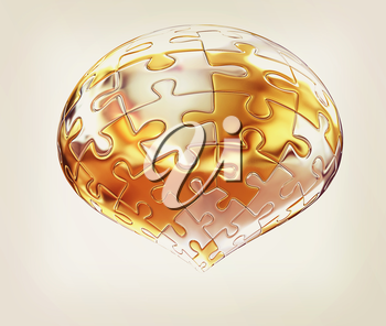 Puzzle abstract sphere on a white background. 3D illustration. Vintage style.