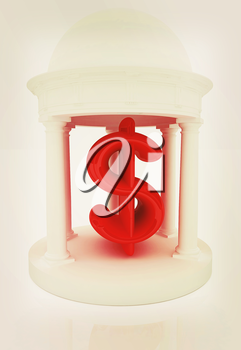 Dollar sign in rotunda on a white background. 3D illustration. Vintage style.