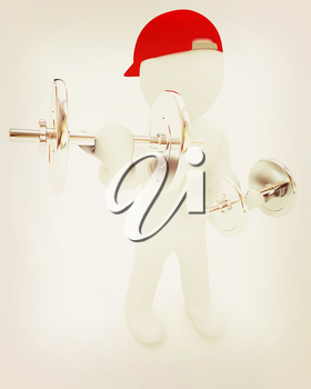 3d man with metal dumbbells on a white background. 3D illustration. Vintage style.