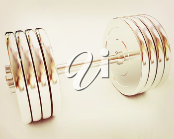 Metal dumbbell on a white background. 3D illustration. Vintage style.