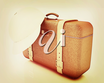 Brown traveler's suitcase and peaked cap on a white background. 3D illustration. Vintage style.