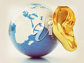 Ear gold 3d on earth render isolated on white background. Global . 3D illustration. Vintage style.