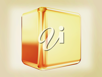 3d abstract gold cub on a white background. 3D illustration. Vintage style.