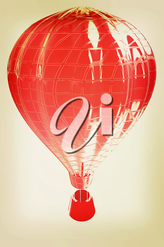 Hot Air Balloons with Gondola. Colorful Illustration isolated on white Background . 3D illustration. Vintage style.