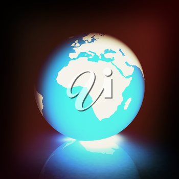 Earth glow on a white background. 3D illustration. Vintage style.