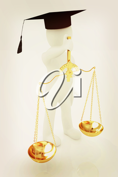 3d man - magistrate with gold scales. Isolated over white . 3D illustration. Vintage style.