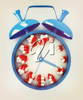 Alarm clock and tablet on a white background. 3D illustration. Vintage style.