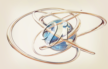 Earth and abstract shapes on a white background. 3D illustration. Vintage style.