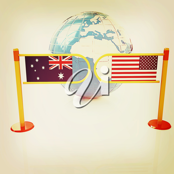 Three-dimensional image of the turnstile and flags of USA and Australia on a white background . 3D illustration. Vintage style.