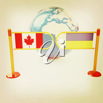 Three-dimensional image of the turnstile and flags of Canada and Ukraine on a white background . 3D illustration. Vintage style.