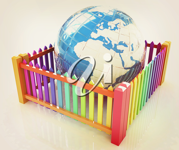 Web protection concept. Earth closed colorfull fence on a white background. 3D illustration. Vintage style.