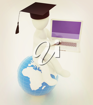 3d man in graduation hat sitting on earth and working at his laptop on a white background. 3D illustration. Vintage style.