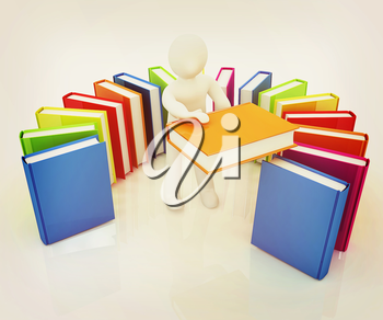 3d white man with and books on a white background. 3D illustration. Vintage style.