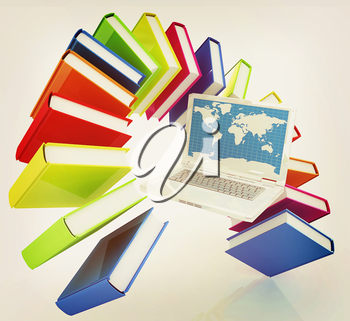 Laptop and books flying on a white background. 3D illustration. Vintage style.