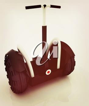 Mini electrical and ecological transport on a white background. 3D illustration. Vintage style.