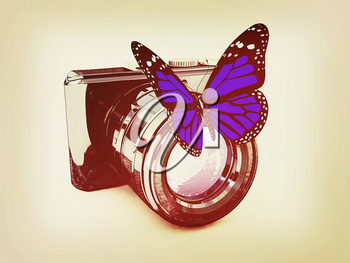 3d illustration of photographic camera and butterfly on white background. 3D illustration. Vintage style.