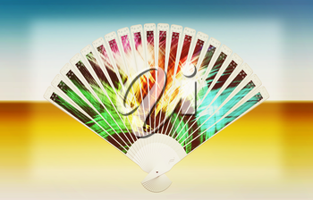Colorful hand fan on a white background. 3D illustration. Vintage style.