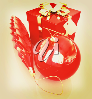 Bright christmas gifts on a white background. 3D illustration. Vintage style.