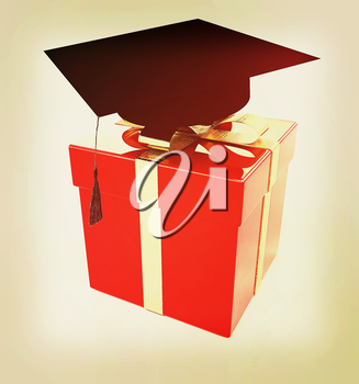 graduation hat on a red gift on a white background. 3D illustration. Vintage style.