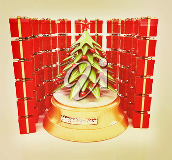 Christmas tree and gifts on a white background. 3D illustration. Vintage style.