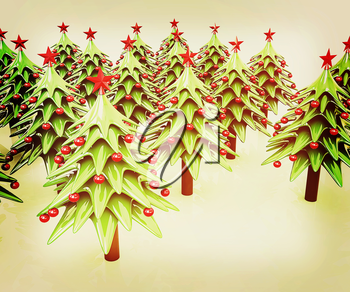 Christmas trees on a white background . 3D illustration. Vintage style.