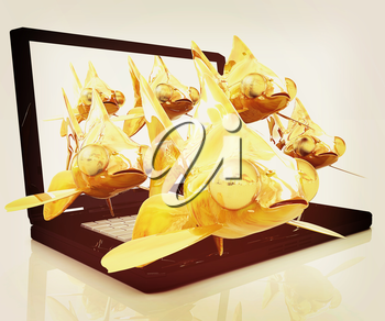 Gold fishea and laptop on a white background. 3D illustration. Vintage style.