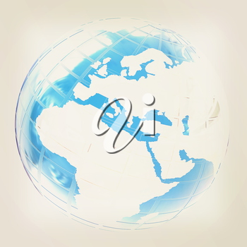 Earth on a white background. 3D illustration. Vintage style.