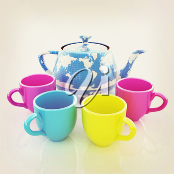 colorfull cups and teapot for earth. Globally. Drink for the entire planet.Concept of communication. 3D illustration. Vintage style.