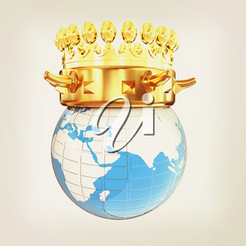 Gold crown on earth isolated on white background . 3D illustration. Vintage style.