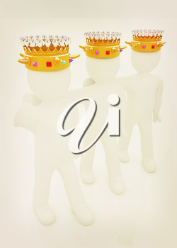 3d people - mans, persons with a golden crown. Kings. 3D illustration. Vintage style.