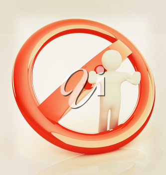 3d person and stop sign . 3D illustration. Vintage style.