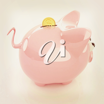 Piggy bank with gold coin on white. 3D illustration. Vintage style.