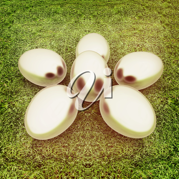 Metall Easter eggs as a flower on a green grass. 3D illustration. Vintage style.