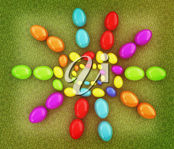 Easter eggs as a Happy Easter greeting on a green grass. 3D illustration. Vintage style.