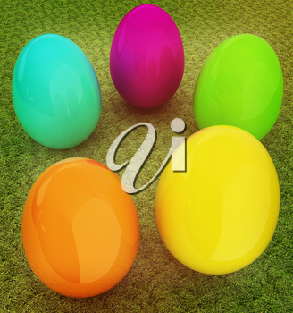 Colored Easter eggs on a green grass. 3D illustration. Vintage style.