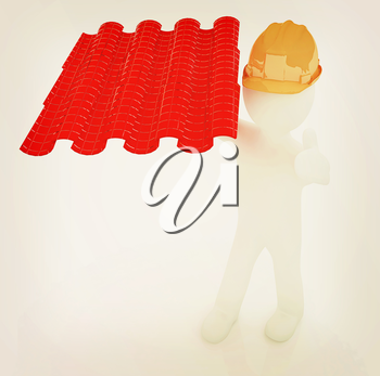 3d man presents the roof tiles on a white background. 3D illustration. Vintage style.