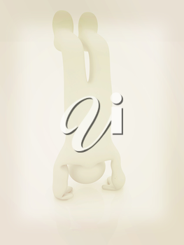 3d man isolated on white. Series: morning exercises - performs three-point head stand with hands on floor. 3D illustration. Vintage style.