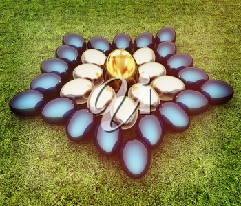 Blue metallic, metall and Gold Easter eggs as a flower on a green grass. 3D illustration. Vintage style.
