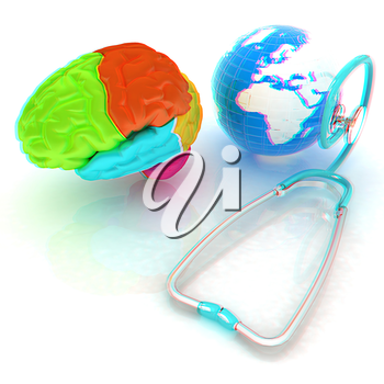 stethoscope, globe, brain - global medical concept. 3d illustration. Anaglyph. View with red/cyan glasses to see in 3D.