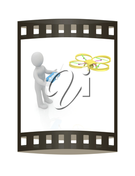 3d man with drone, quadrocopter, with photo camera. 3d render. 3D render. The film strip