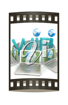 Global concept of  WiFi connectivity between laptops. 3d render. The film strip