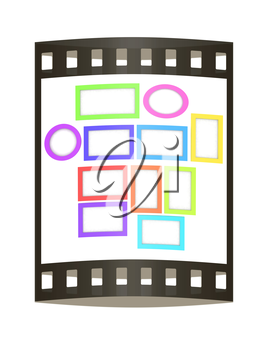 Abstract frames. Conceptual design. 3D illustration. The film strip