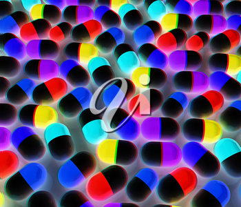 Tablets background. 3D illustration. Anaglyph. View with red/cyan glasses to see in 3D.
