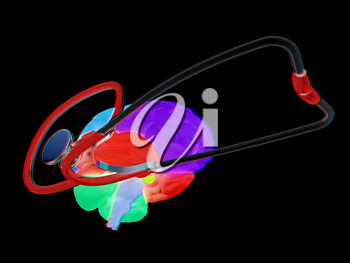 stethoscope and brain. 3d illustration. Anaglyph. View with red/cyan glasses to see in 3D.