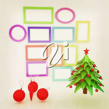 Set of Christmas and New Year frames and Christmas tree. 3D render