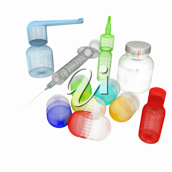 Syringe, tablet, pill jar. 3D illustration