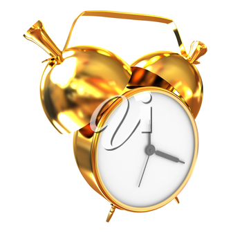 Old style of Gold Shiny alarm clock. 3d illustration