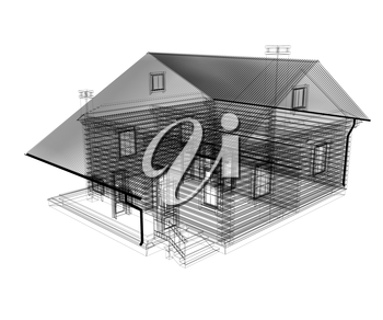 line drawing of house. 3d illustration