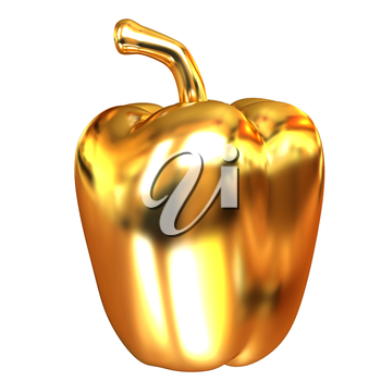 Gold bulgarian pepper. 3d illustration