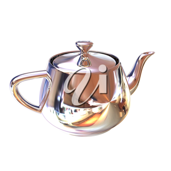 Chrome Teapot. 3d illustration